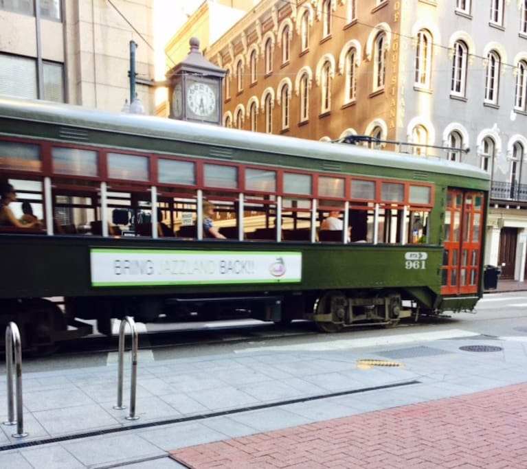 St. Charles street car headed uptown just outside your door!