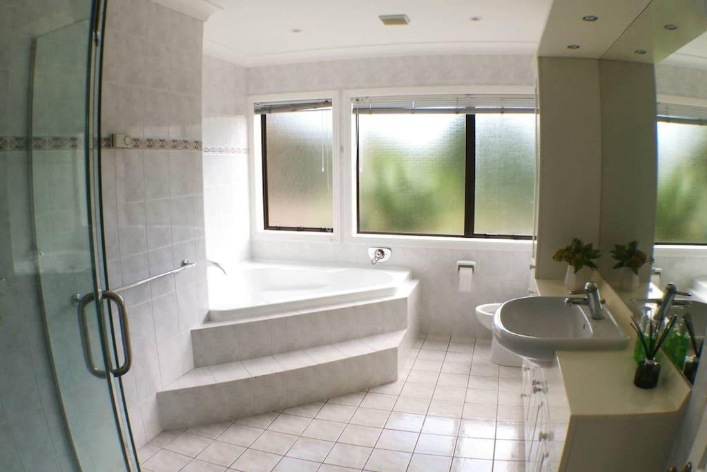 Main bathroom with luxurious bathtub and shower