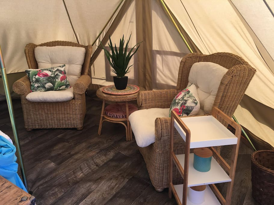 inside one off our Sibley Bell Twin 600 tents