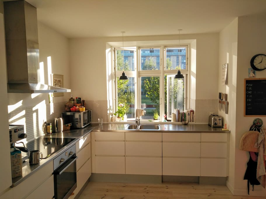 Kitchen with summer evening sun.
