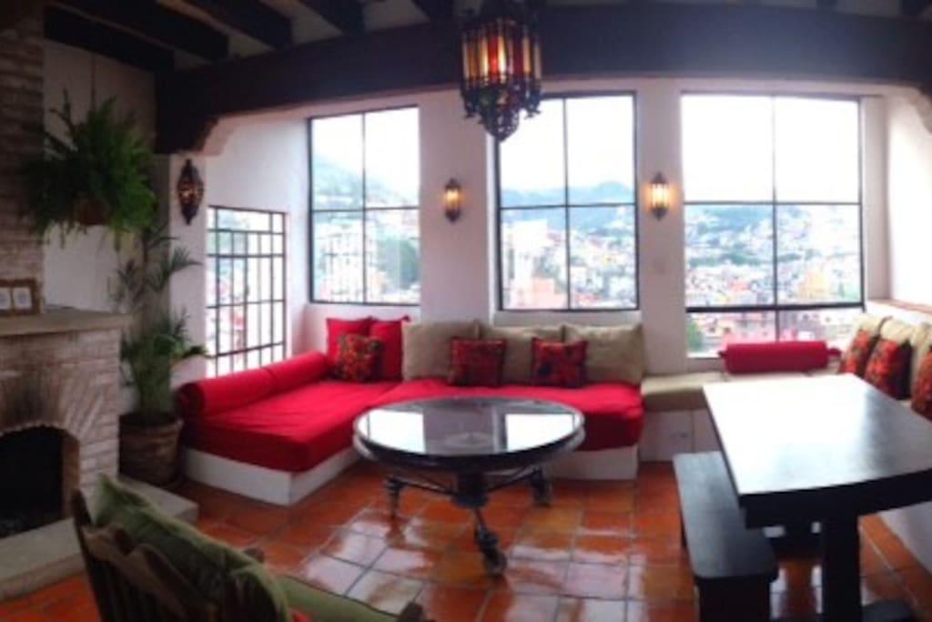 Casa Mirador Main Living Room with views and wood-burning fireplace