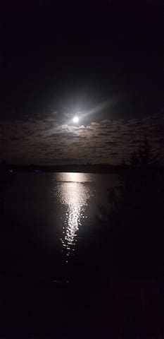 Full moon on the lake.  Breathtaking!