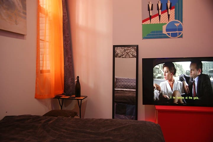 Our large screen can be moved to anywhere in the home for your pleasure.