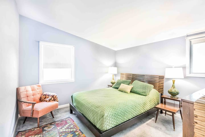Bedroom features 1000 thread count sheets, plush cool pillows and a new pillow top mattress.