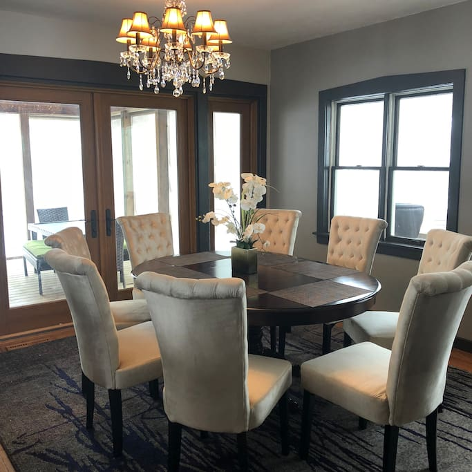 Dining Room with French Doors leading out to huge Screened-In Porch - Dining Room part of open floorplan Kitchen