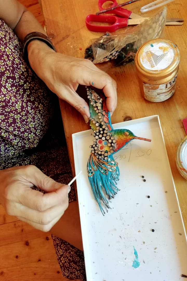 working on one of my mosaic hummingbirds