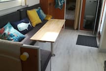 Seating area with foldaway table