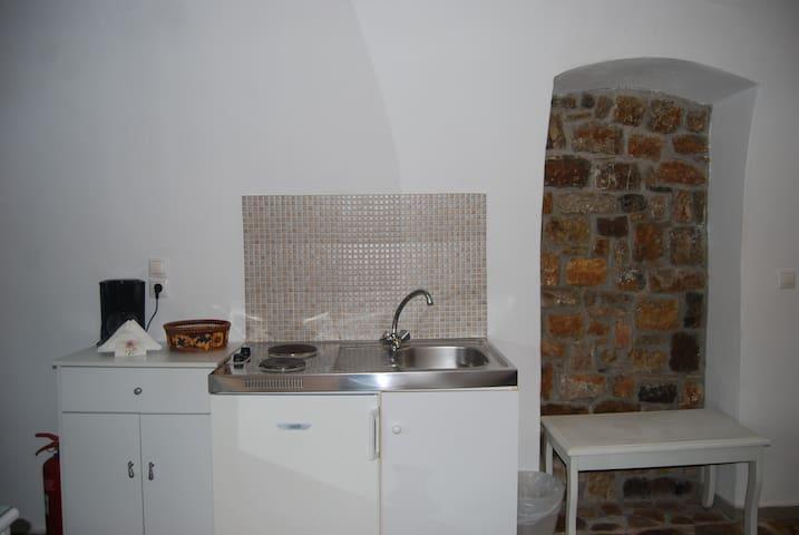 The small Kitchen of Venus studios.