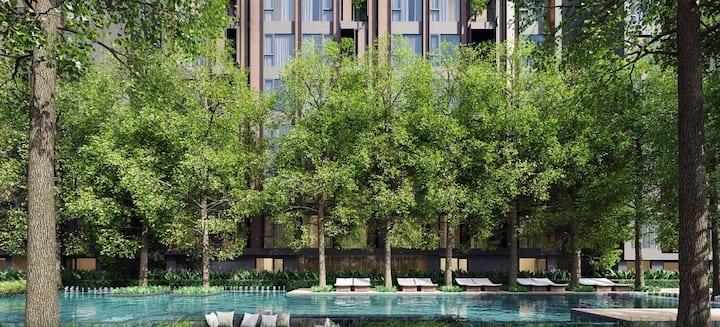 曼谷市中心 都市森林 免费泳池 一室一厅套房