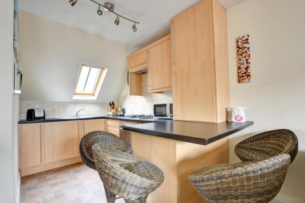 Modern kitchen area.