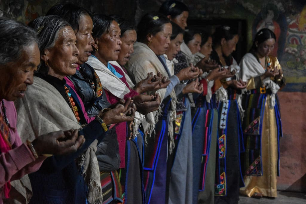 Traditional prayer offer by local women in an auspicious occasion