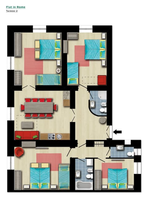 Floor Plan - 4 bedrooms, 3 bathrooms, 1 living room