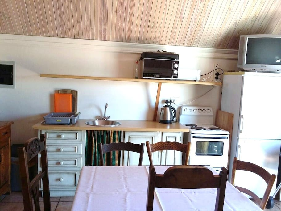 Dining table/work desk and kitchen