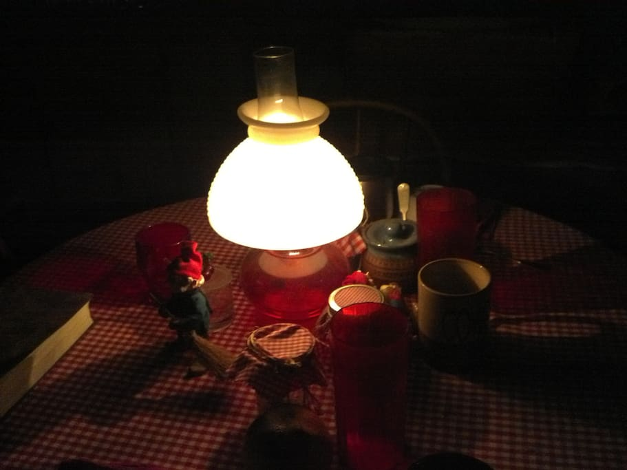 Kerosene and candle  light are used for lighting the cabin at night.  You are welcome to bring your own solar lights.