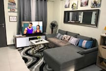 """Our Living Room is equip with 43"""" Sony Smart 4K HD TV with Netflix, HOOQ, iFlix, Amazon and Prime Video and Disney Channel, you will definitely love to stay in our HOME..."""