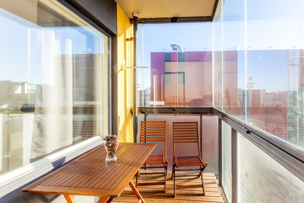 Balcony with glass protection. Smoking is ok on balcony, no smoking or pets in apartment itself please.
