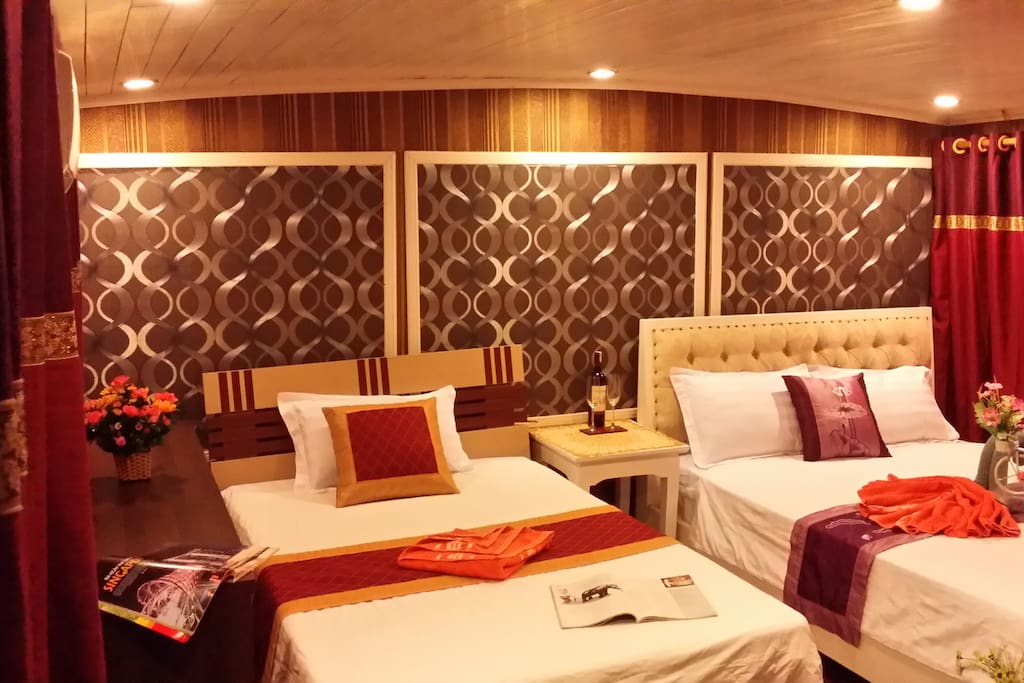 cabins with en-suite bathrooms (1 Master/King, 1 VIP/Double, 1 Double, 3 Singles)
