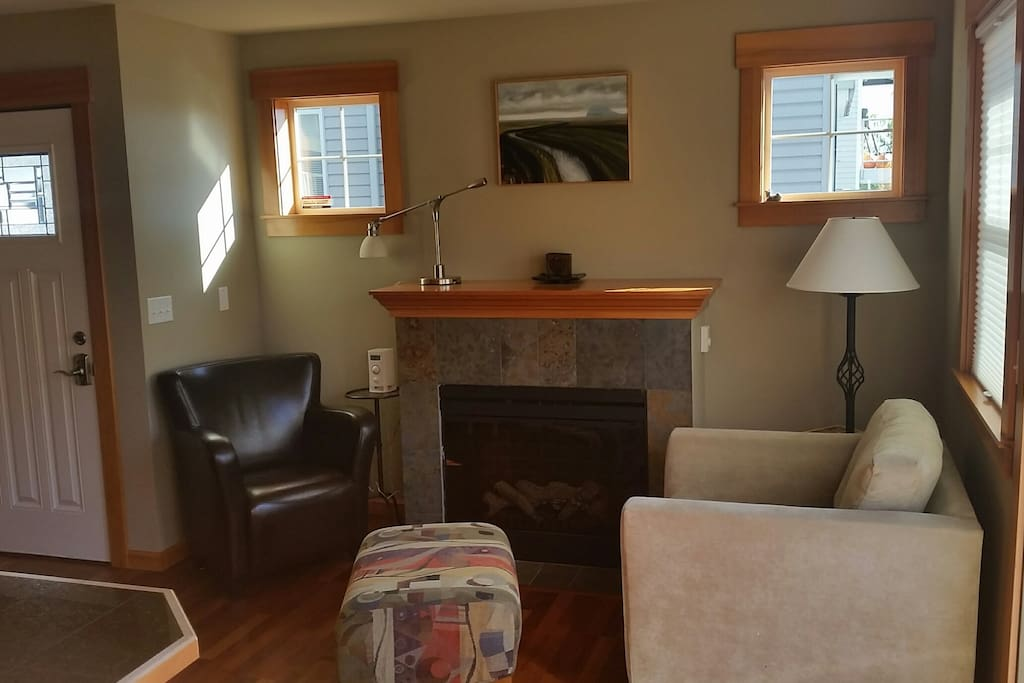 Living area with electric fireplace heater, kid safe