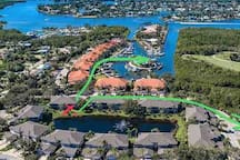 Arrows show the walk from the condo to the two pools renters will have access to.