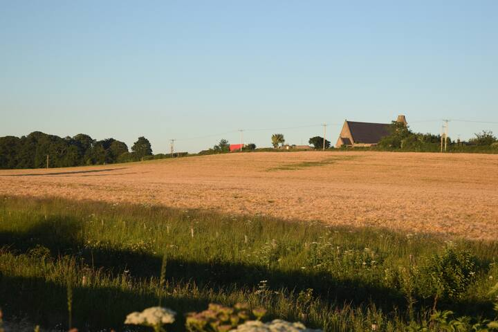 Open farmland at the back of the house.