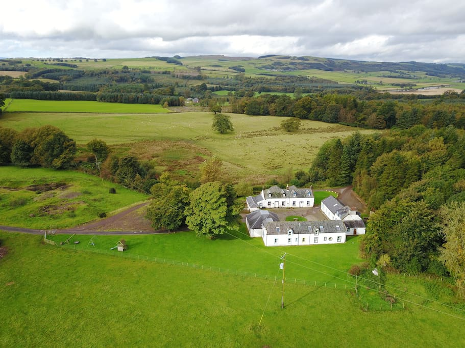 The cottages seen from above: Fox, Hare, Red Squirrel, Roe Deer and Otter