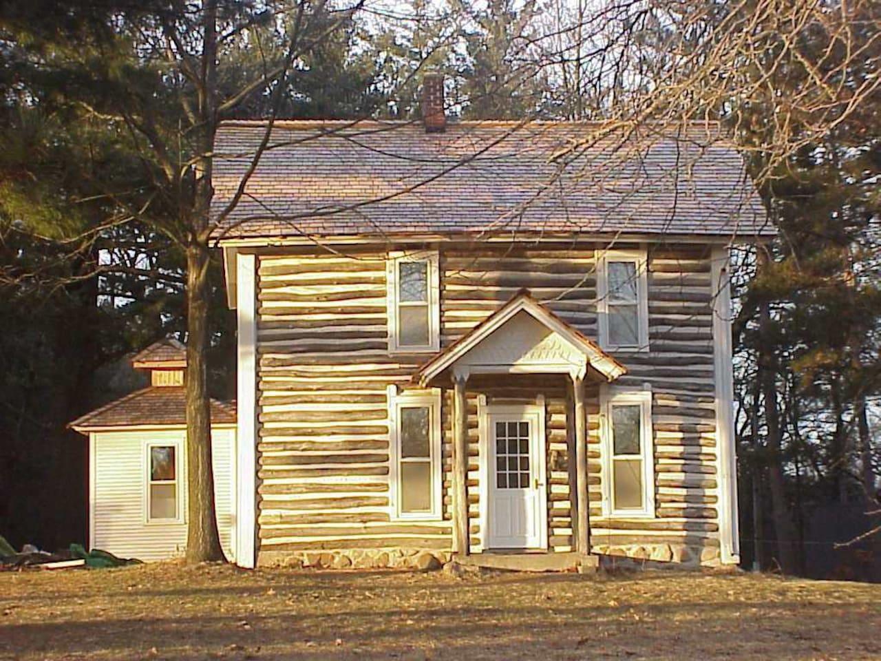 1874 National Historic Registry 2-Story Log House facing prairie