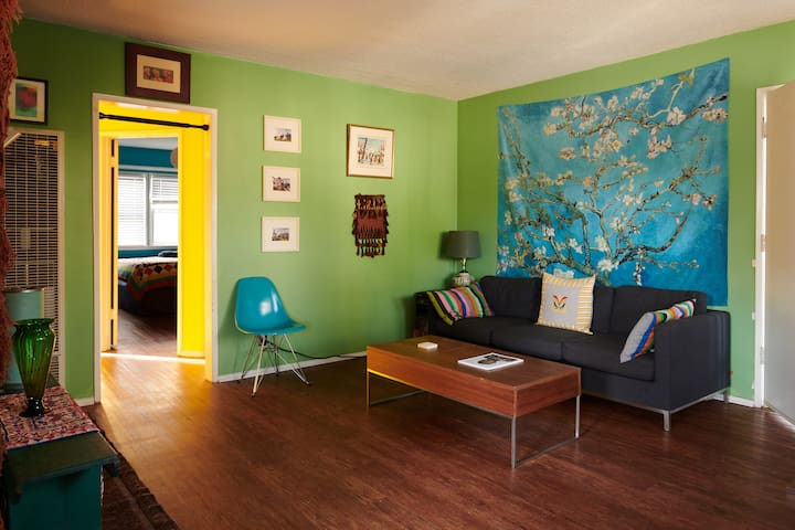 Living room in the day time. An energizing shared space.