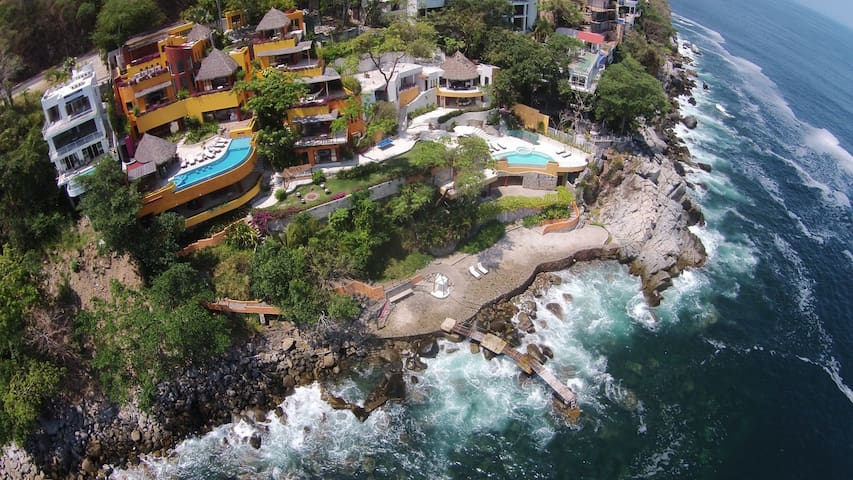Aerial view of the property in an Oceanfront setting.