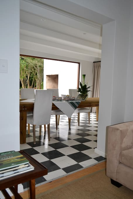 tv room and dining area