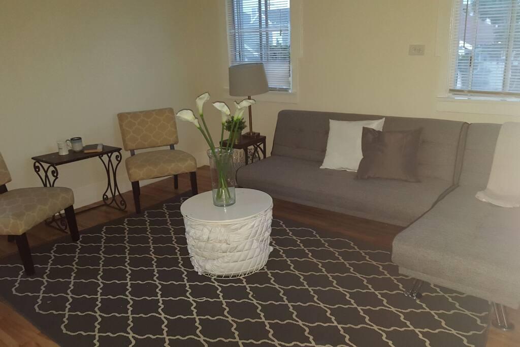 Living room- futon in sofa position.
