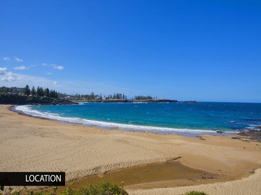 Your local beach, Kendalls Beach has views to lighthouse, golden sand, surf and swimming.