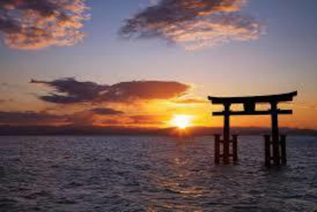Sun set with Ootorii from Miyajima island
