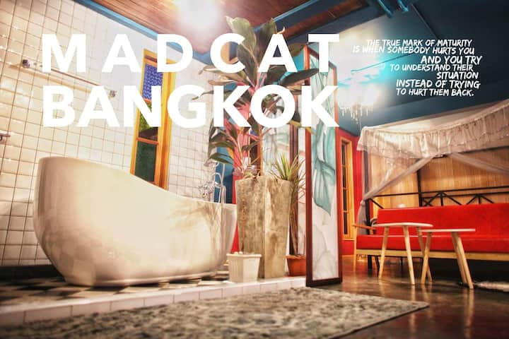 f1s2曼谷疯猫民宿/MADCAT BANGKOK/开放浪漫浴缸/私人泳池/独栋别墅里的独立房间
