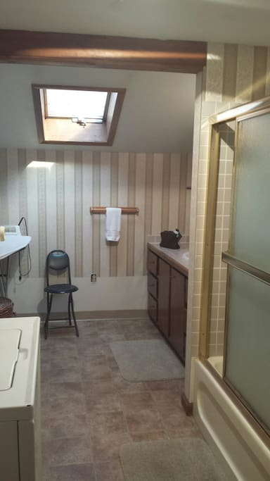 Bathroom: iron, ironing board, washer, dryer, shower, bathtub, etc.