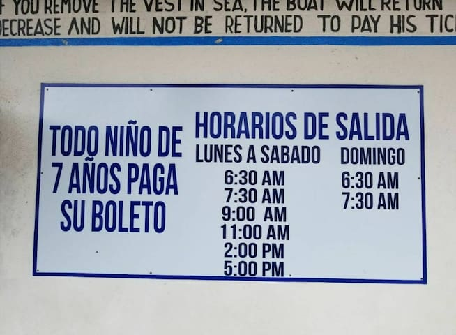 Schedule at pier for lanchas (boats) that take you to Livingston & Belize