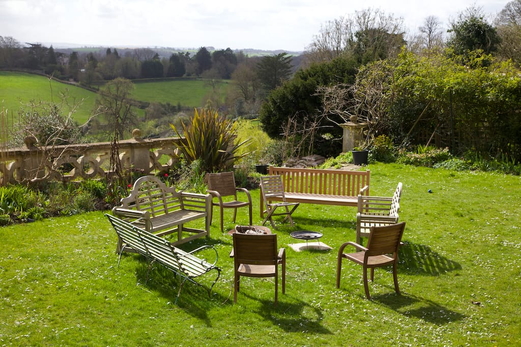 You are welcome to use any part of the 5 acre garden to sit, chat or read and think