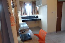 Spacious, well lit working space, and a kitchenette