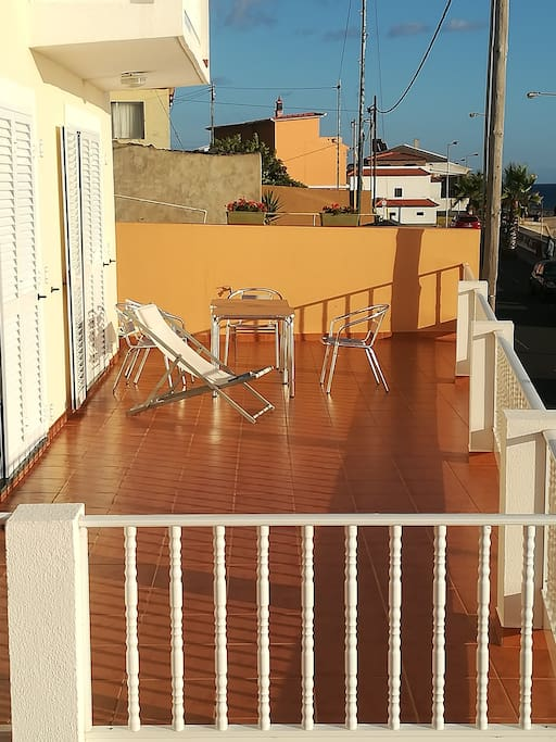 The NEW larger Sun terrace facing the ocean. One of 3 outdoor areas of the Villa not including the bedroom balconies