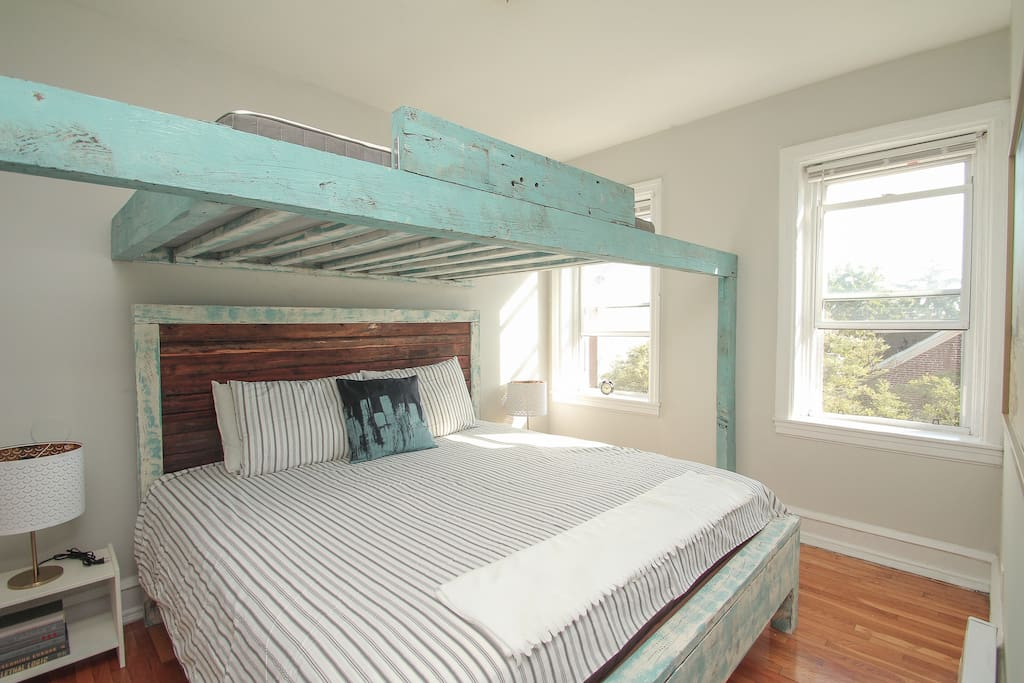 King size bed and loft bed made from South Philly reclaimed wood.