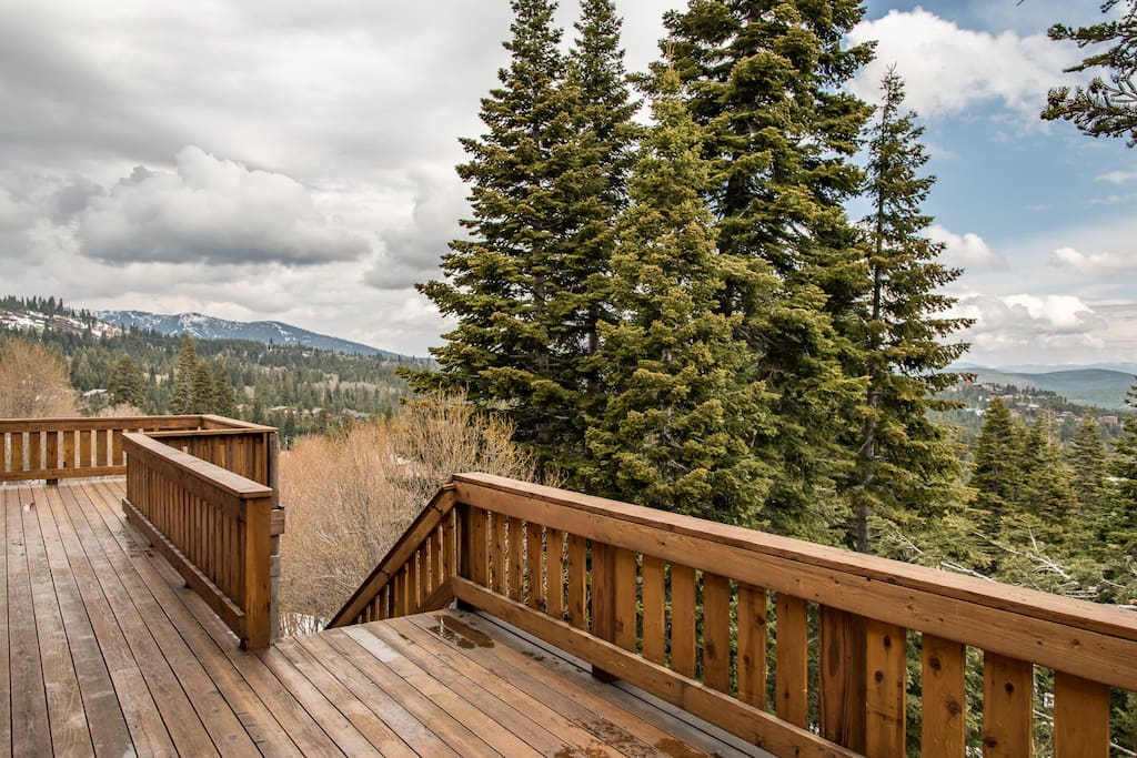 Take the stairs down, or enjoy the sight of the forest from the upstairs deck.