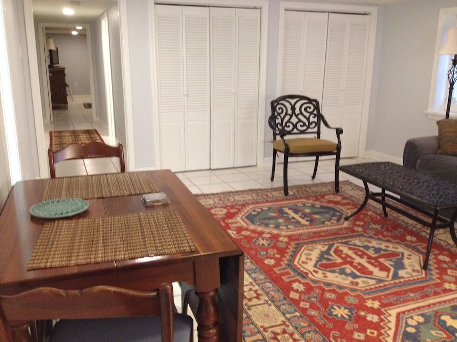 Living-Dining area from outdoor entrance (Queen Air mattress, toddler bed, Pack & play available)