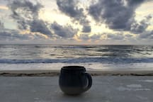 Jamaica is the home of Blue Mountain coffee.  Feel free to brew a cup and carry it beach side! Our beach patio offers great views all day long!  Enjoy your cuppa!
