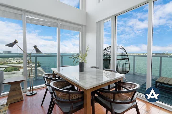 Sextant | 2-Story Waterfront Condo #4 | Heated Pool | 10 mins to Miami Beach