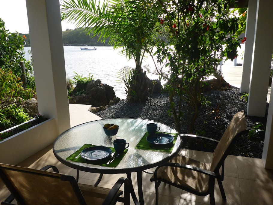Your waterfront outdoor dining table.