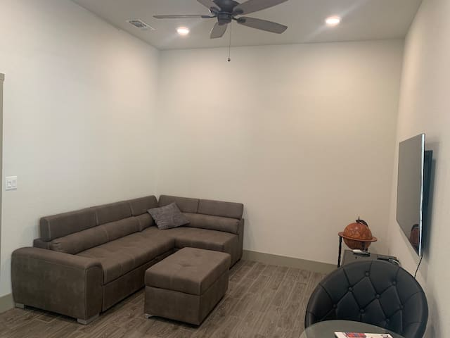 Living room. Couch pulls out to a full size bed.