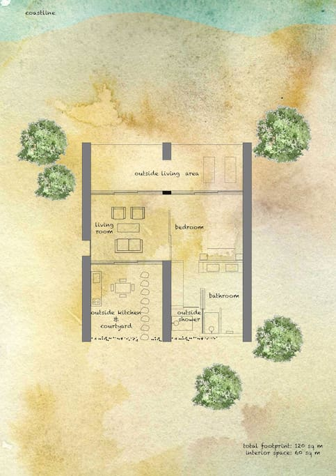 Floor plan of Villa Levanda, 120 sq m total footprint, 65 sq m interior space. Sleeps a maximum of 3 adults, or 2 adults and 2 children in one king size bed and one sofa bed.