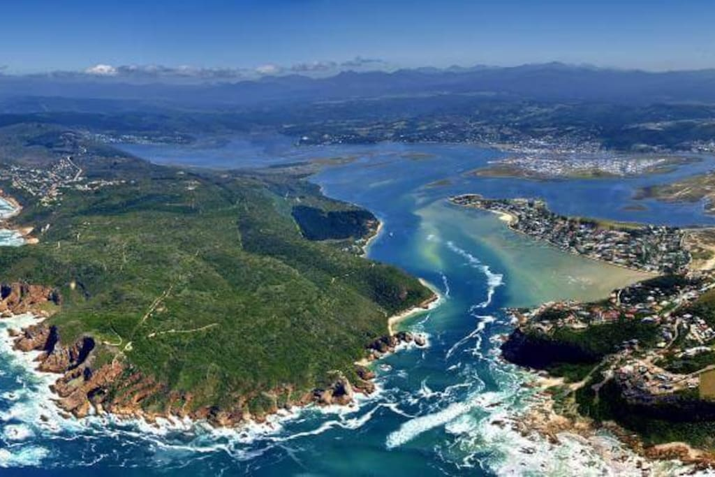Aerial View of Knysna Heads and Lagoon and Thesen Islands