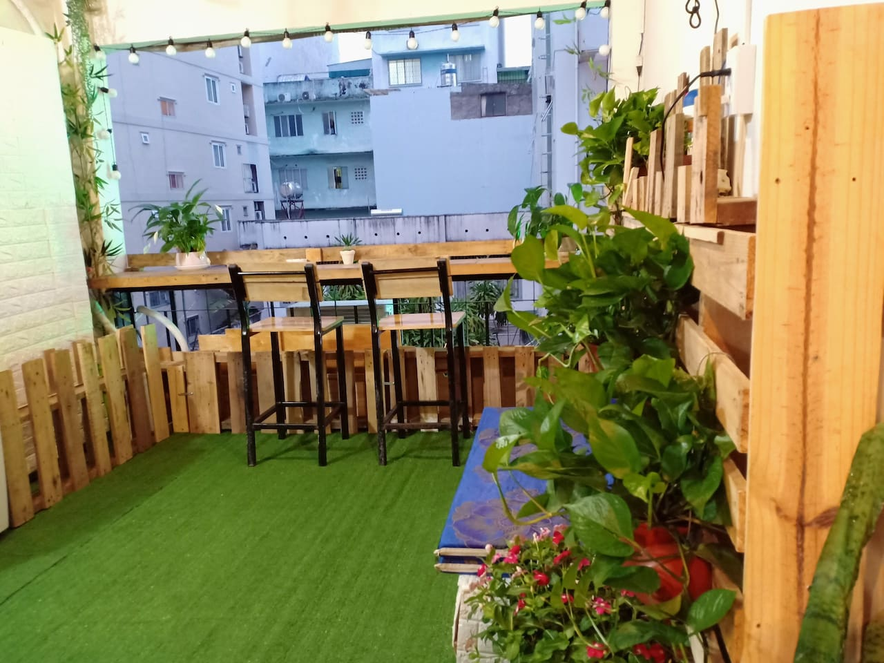 You can enjoy the beautiful terrace, with a small kitchen