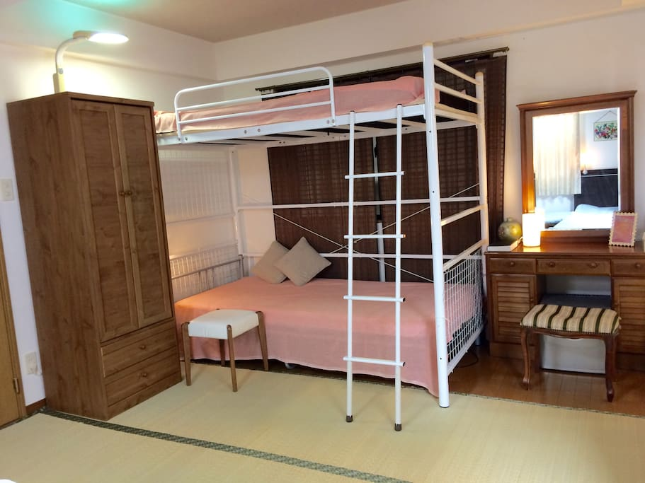 Total of 4 beds plus one futon mattress in your spacious 24㎡ bedroom