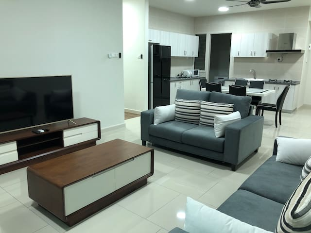 Living area and small kitchen